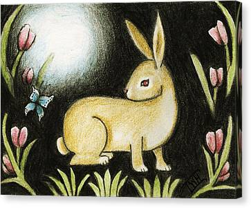 Canvas Print featuring the mixed media Rabbit And The Butterfly . . . From The Tapestry Series by Terry Webb Harshman