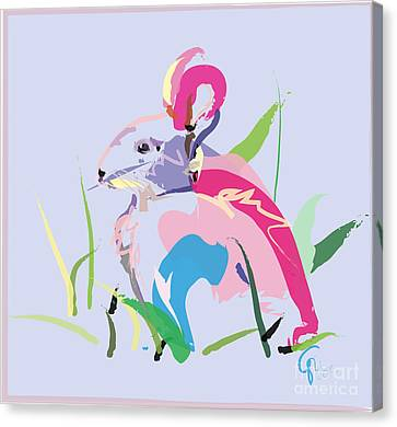 Canvas Print featuring the painting Rabbit - Bunny In Color by Go Van Kampen