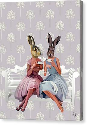 Rabbit Chat Canvas Print by Kelly McLaughlan