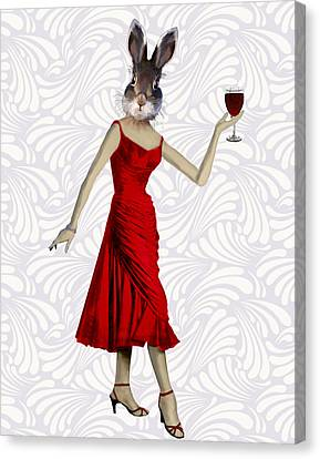 Rabbit In A Red Dress Canvas Print by Kelly McLaughlan