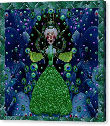 Rabbit Lady Happy For Her New Fauna Dress Canvas Print by Pepita Selles