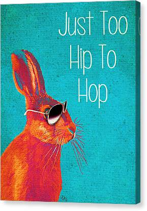 Rabbit Too Hip To Hop Blue Canvas Print by Kelly McLaughlan