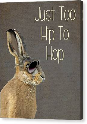 Rabbit Too Hip To Hop Grey Canvas Print by Kelly McLaughlan