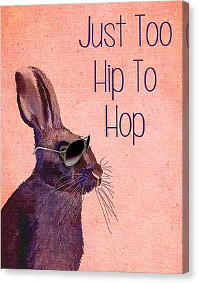 Rabbit Too Hip To Hop Pink Canvas Print by Kelly McLaughlan