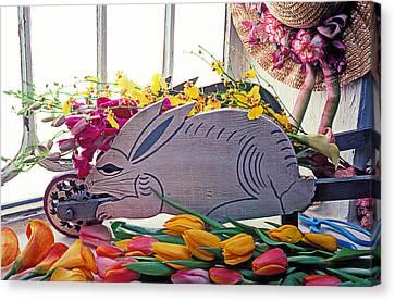 Rabbit Wheel Barrow Canvas Print by Garry Gay