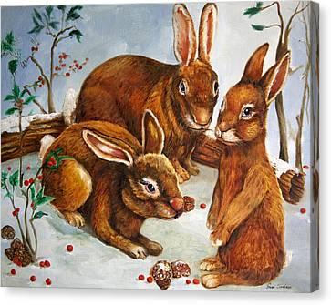 Rabbits In Snow Canvas Print by Enzie Shahmiri