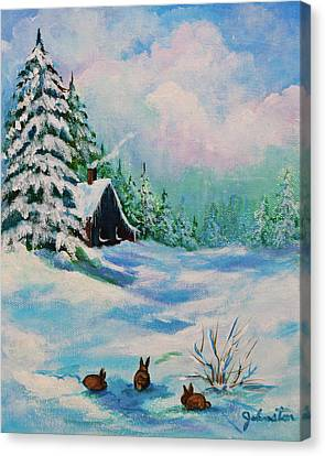 Canvas Print featuring the painting Rabbits Waiting For Spring by Bob and Nadine Johnston
