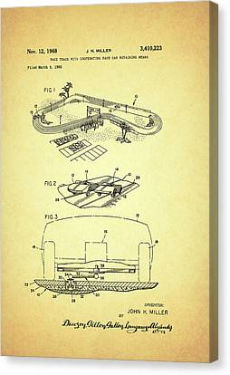 Race Car Track With Race Car Retaining Means Patent 1968 Canvas Print by Mountain Dreams
