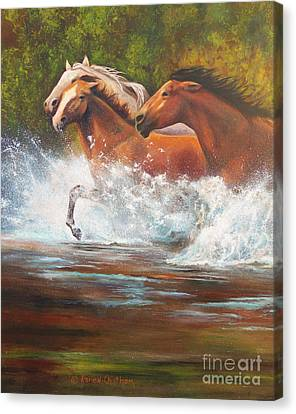 Canvas Print featuring the painting Race For Freedom Close Up by Karen Kennedy Chatham