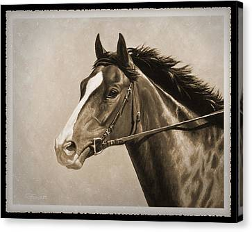 Race Horse Old Photo Fx Canvas Print