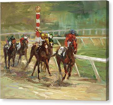 Race Horses Canvas Print by Laurie Hein