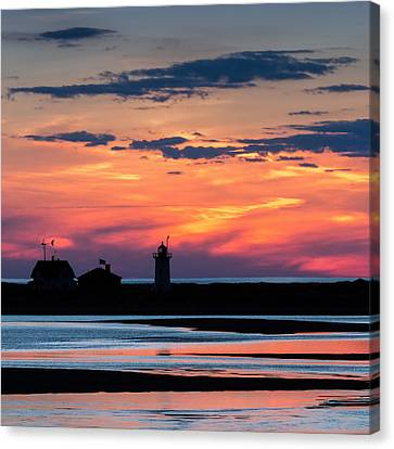 Race Point Light Sunset Square Canvas Print by Bill Wakeley