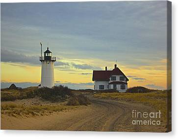 Race Point Lighthouse At Sunset Canvas Print by Amazing Jules