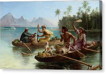 Canoe Canvas Print - Race To The Market Tahiti by Nicholas Chevalier