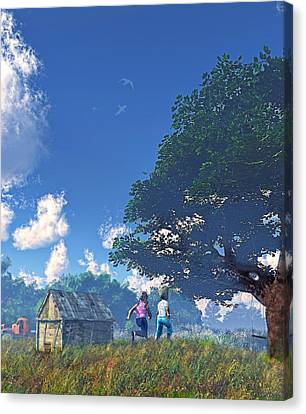 Race To The Swing Canvas Print by Ken Morris