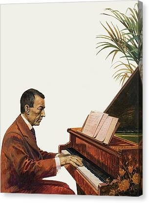 Rachmaninoff Playing The Piano Canvas Print by Andrew Howat