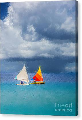 Racing A Caribbean Storm Canvas Print by Betty LaRue