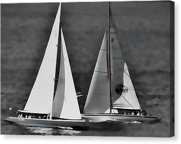 Canvas Print featuring the photograph Racing At Sea by Pamela Blizzard