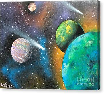 Canvas Print featuring the painting Racing Comets by Greg Moores
