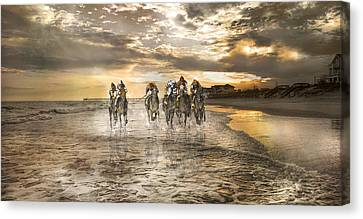Racing Down The Stretch Canvas Print by Betsy Knapp