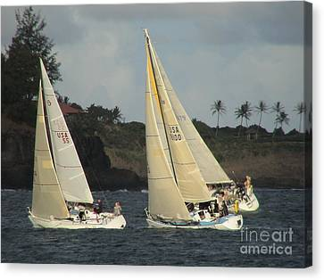 Canvas Print featuring the photograph Racing In Kauai by Laura  Wong-Rose