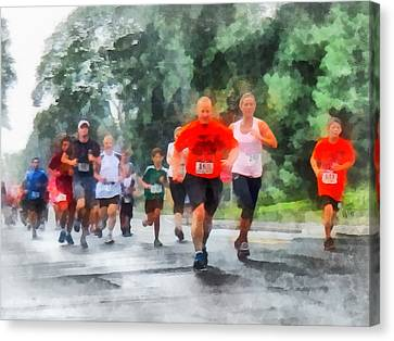 Racing In The Rain Canvas Print by Susan Savad