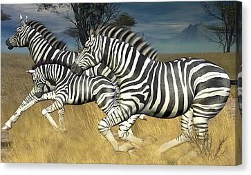 Canvas Print featuring the digital art Racing Stripes by Jayne Wilson