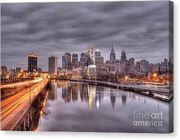 Racing To The City Lights - Philly Canvas Print by Mark Ayzenberg