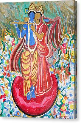 Canvas Print featuring the painting Radha And Krishna by Anand Swaroop Manchiraju