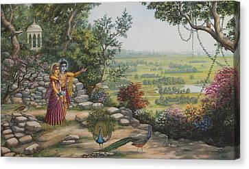 Radha And Krishna On Govardhan Canvas Print by Vrindavan Das