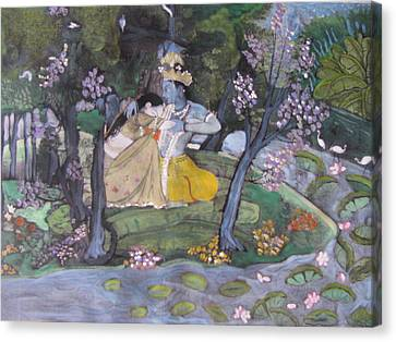 Canvas Print featuring the painting Radha And Krishna by Vikram Singh
