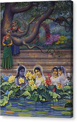Radha And Krishna Water Pastime Canvas Print by Vrindavan Das