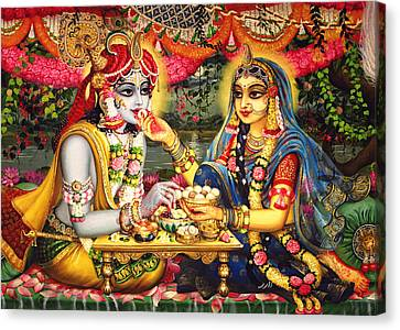 Radha Krishna Bhojan Lila On Yamuna Canvas Print by Vrindavan Das