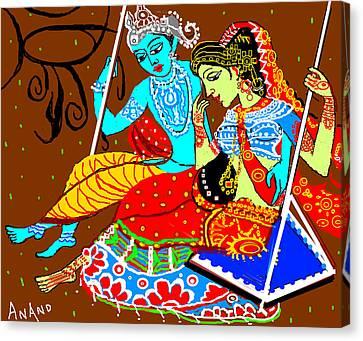 Radha Krishna On A Swing-13 Canvas Print by Anand Swaroop Manchiraju