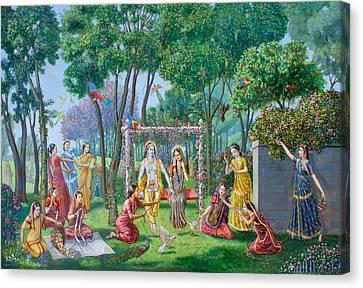 Radha Krishna On The Swing Canvas Print by Dominique Amendola