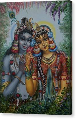 Vishnu Canvas Print - Radha Kunjabihari by Vrindavan Das