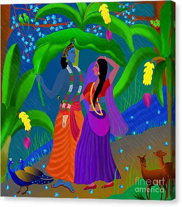 Radha Likes Rain Canvas Print