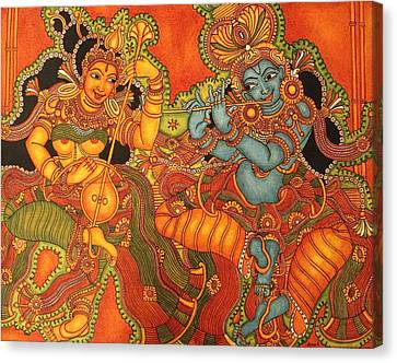 Radha Madhav   Symbol Of Eternal Love Canvas Print by Anu Edasseri