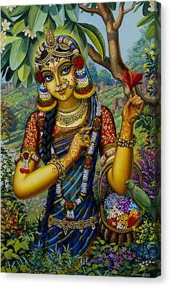 Radha On Govardhan Hill Canvas Print by Vrindavan Das