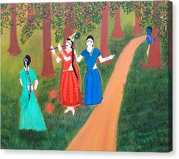 Radha Playing Krishna Canvas Print by Pratyasha Nithin