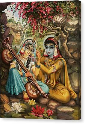 Radha Playing Vina Canvas Print by Vrindavan Das