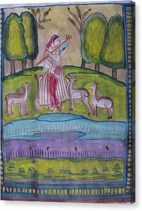 Canvas Print featuring the painting Radha by Vikram Singh