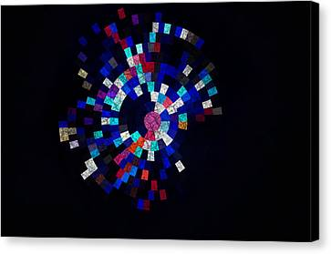 Radial Mosaic In Red White And Blue Canvas Print by Todd Soderstrom