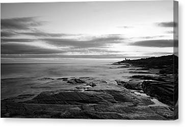 New England Lighthouse Canvas Print - Radiance Of Its Light Black And White by Lourry Legarde