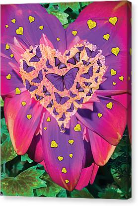 Radiant Butterfly Heart Canvas Print by Alixandra Mullins