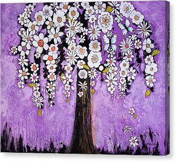 Radiant Orchid Flower Tree Canvas Print by Blenda Studio