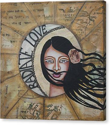 Radiate Love Inspirational Mixed Media Folk Art Canvas Print by Stanka Vukelic