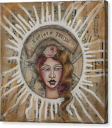 Radiate Truth Inspirational Folk Art Canvas Print by Stanka Vukelic