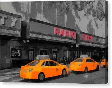 Radio City Music Hall And Taxis Pop Art Canvas Print