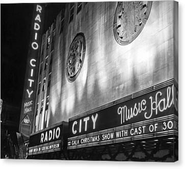 Radio City Music Hall Marquee Canvas Print by Underwood Archives